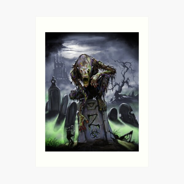 Graveyard Zombie Art Print