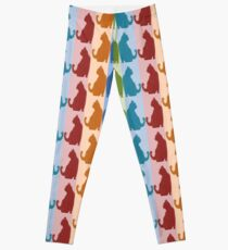 Reflected Images Of A Line Of Cats Leggings