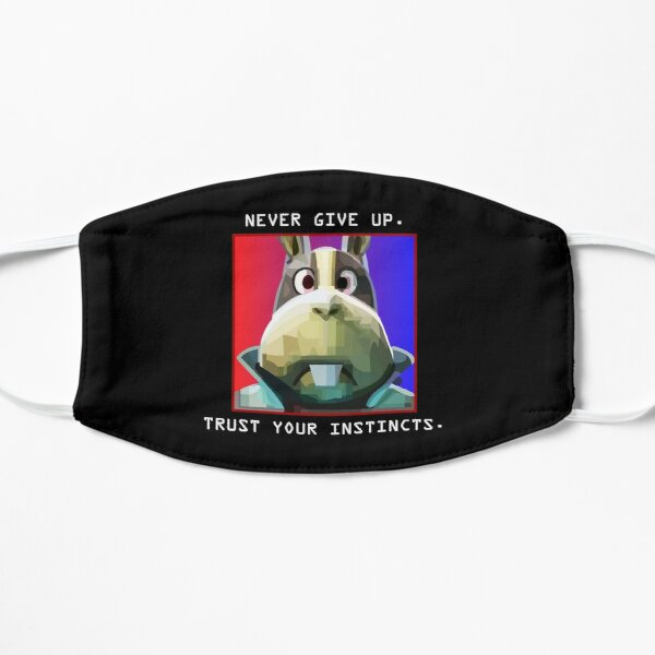 Peppy Hare Never Give Up (White Text) Mask