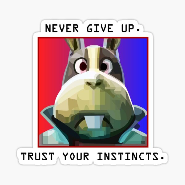Peppy Hare Never Give Up (White Text) Sticker