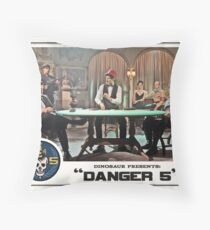 "Danger 5 Lobby Card #8 - ""Die John Baccarat!"" Throw Pillow"
