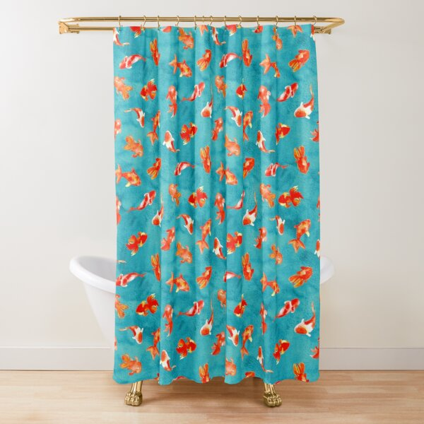 Watercolor Goldfish Pond  Shower Curtain