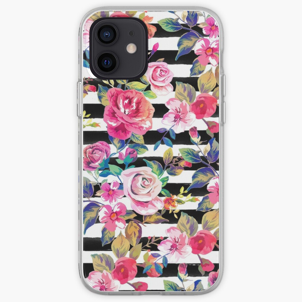 Cute spring floral and stripes watercolor pattern iPhone Case & Cover