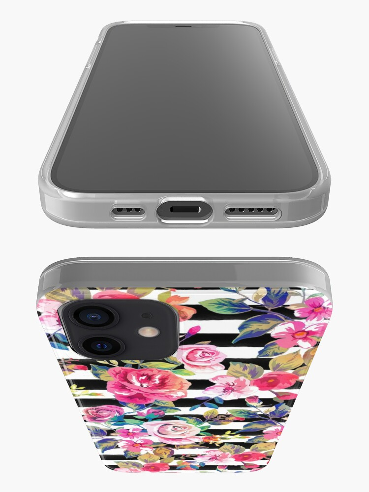 Alternate view of Cute spring floral and stripes watercolor pattern iPhone Case & Cover