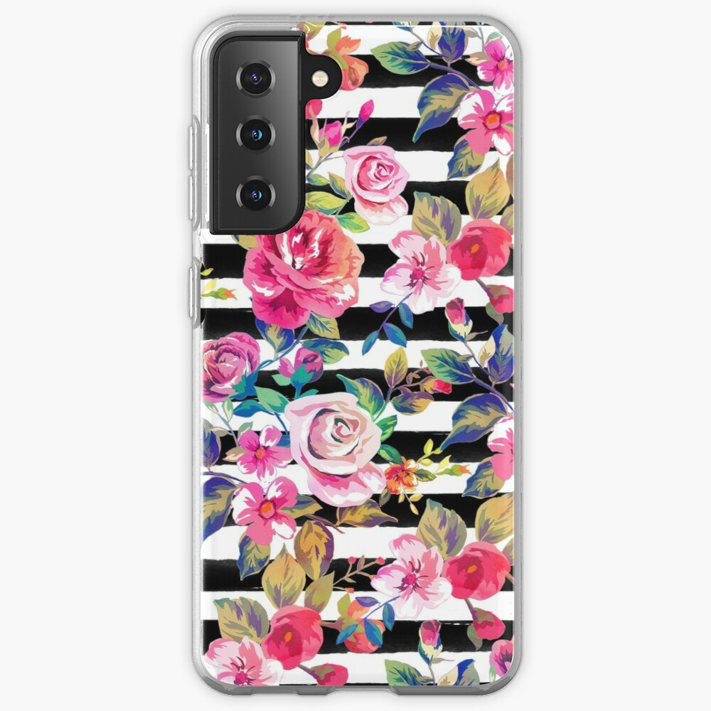 Cute spring floral and stripes watercolor pattern Case & Skin for Samsung Galaxy