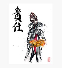 Mass Effect Mordin Sumie style with Japanese Calligraphy Photographic Print