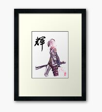 Lightening from Final Fantasy Sumie style with Japanese Calligraphy Framed Print