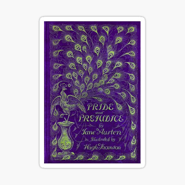 Pride and Prejudice, 1894 Peacock Cover in Purple Sticker