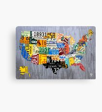 USA License Plate Map of the United States - Muscle Car Era - On Silver Metal Print