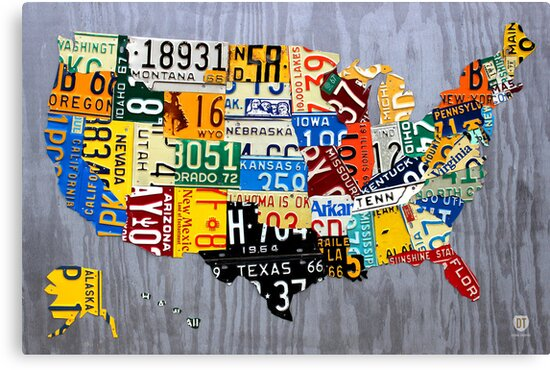 USA License Plate Map of the United States - Muscle Car Era - On ...
