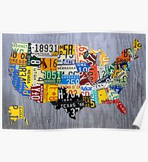 USA License Plate Map of the United States - Muscle Car Era - On Silver Poster