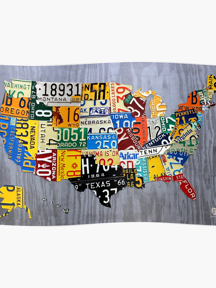 USA License Plate Map of the United States - Muscle Car Era - On Silver on state license plates, ohio license plates, preamble license plates, florida license plates, government license plates, germany license plates, pennsylvania license plates, front license plates,
