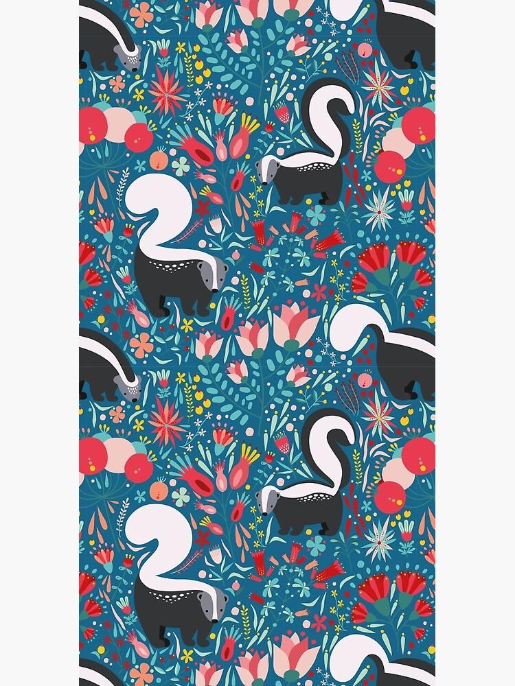 Skunk Floral Pattern by InventiveGenius