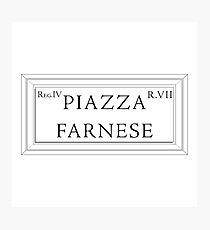 Piazza Farnese, Rome Street Sign, Italy Photographic Print