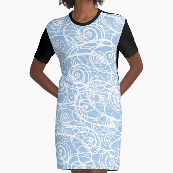 Drizzle & Fog Blue Graphic T-Shirt Dress