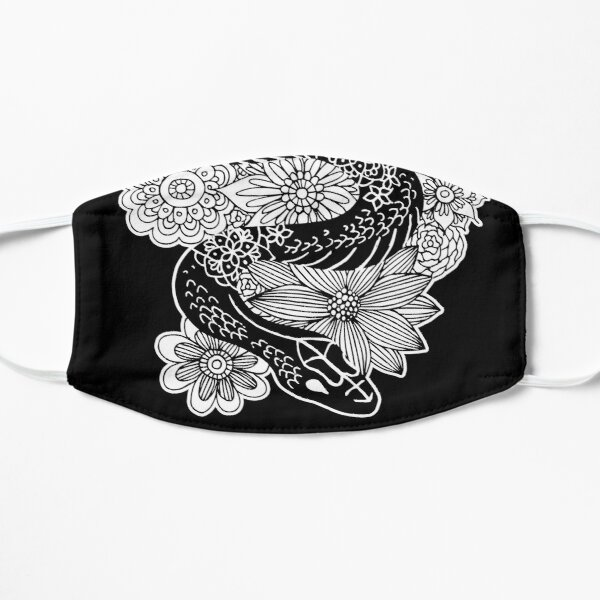 Snake with Flowers Black and White Drawing Mask