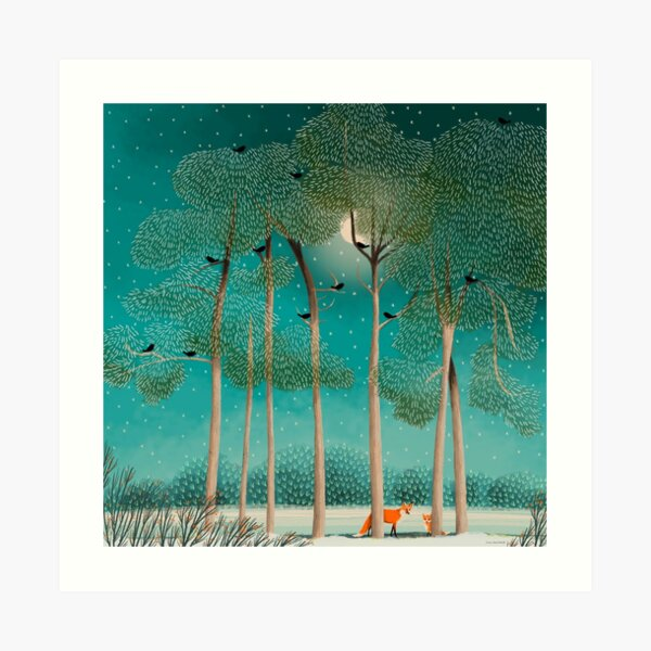 Foxes at Night Art Print