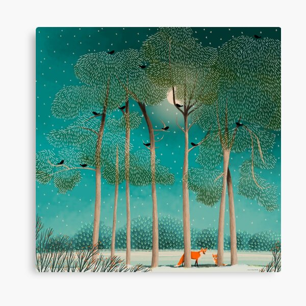 Foxes at Night Canvas Print