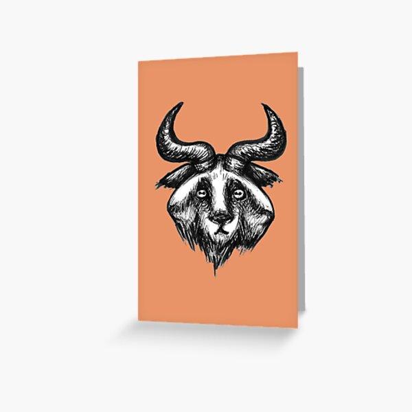 Three-Headed Goat Icon Greeting Card