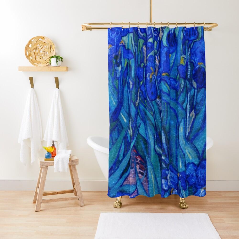 Van Gogh Irises in Indigo Shower Curtain