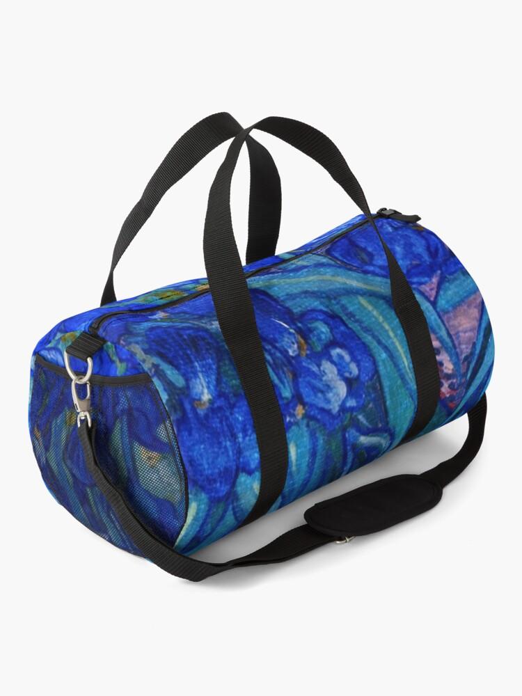 Alternate view of Van Gogh Irises in Indigo Duffle Bag