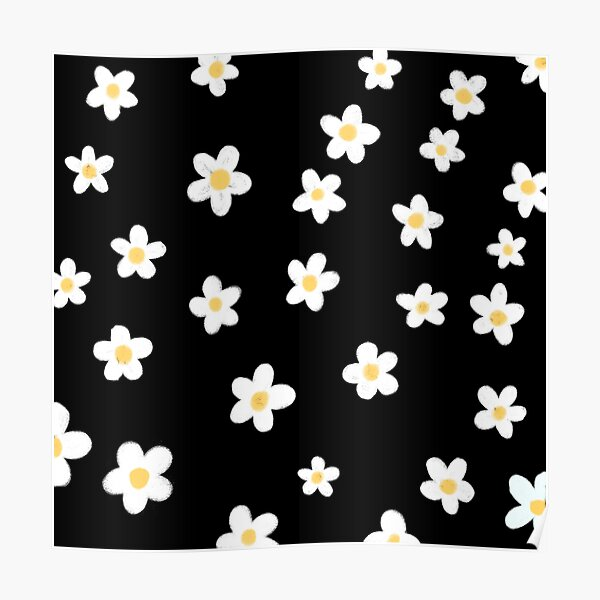 Daisies doodles pattern Poster