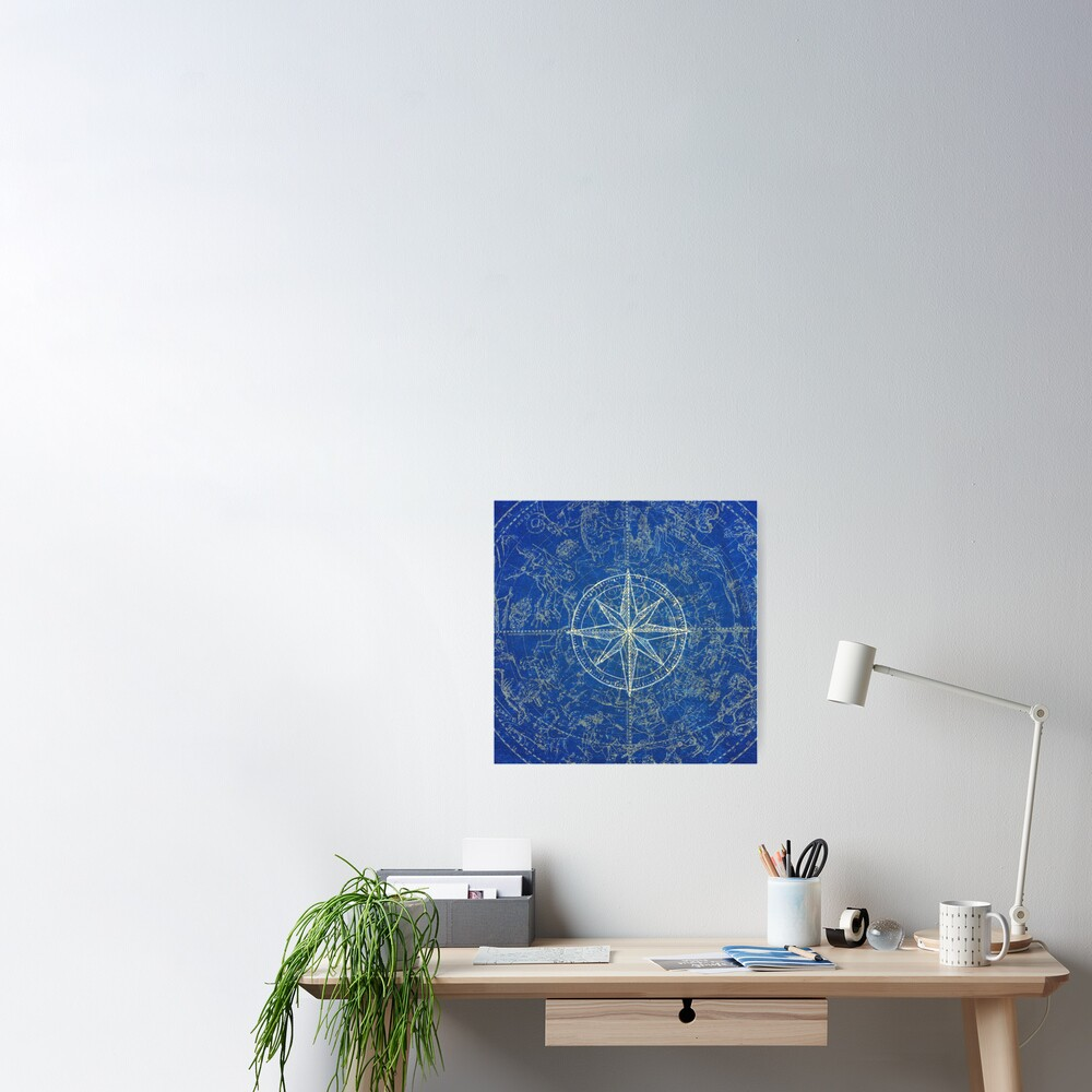 Map of the Heavens in Blue Poster