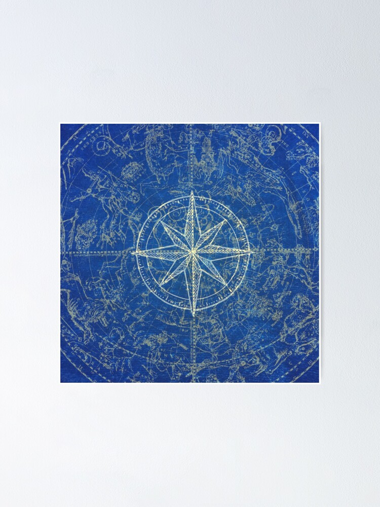 Alternate view of Map of the Heavens in Blue Poster