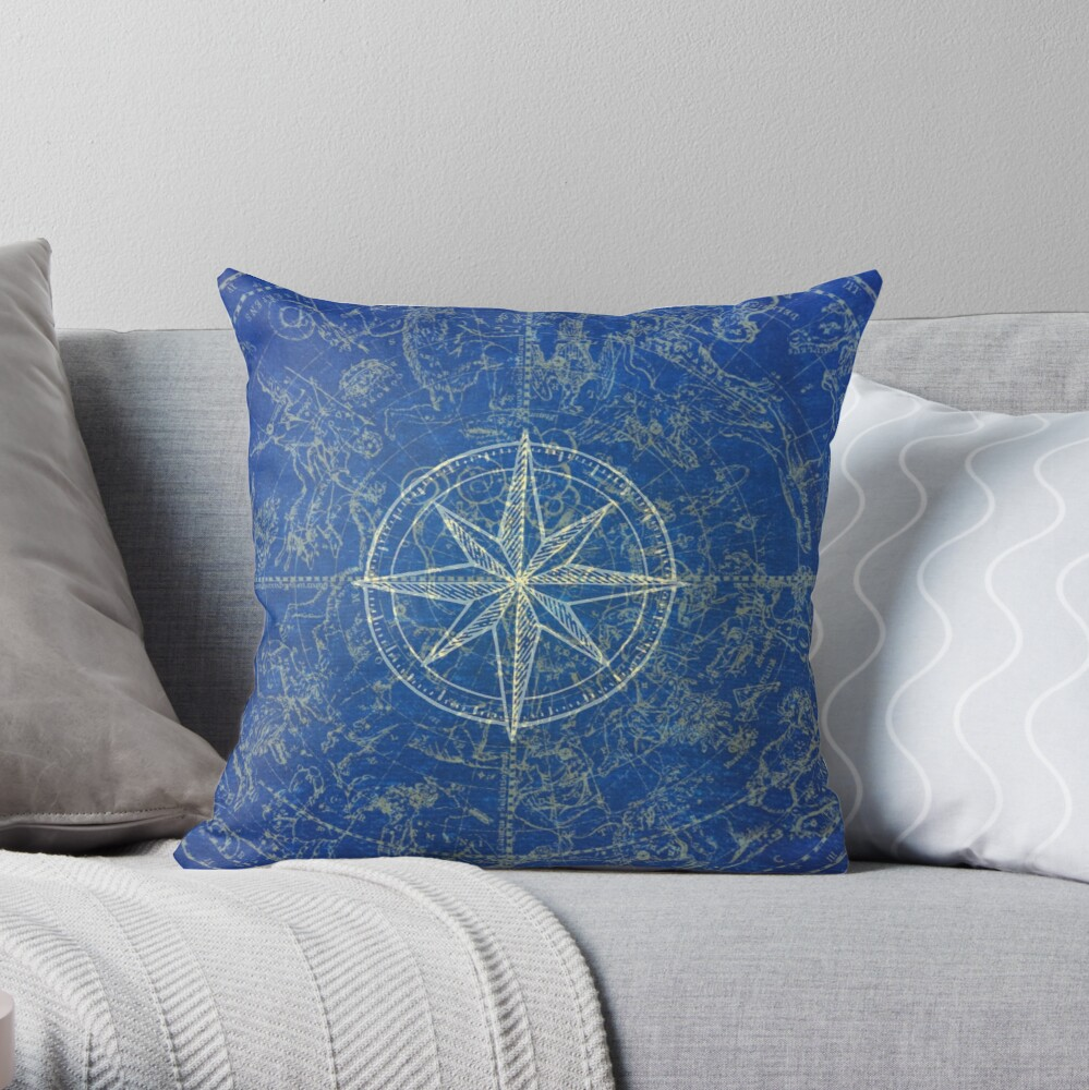 Map of the Heavens in Blue Throw Pillow