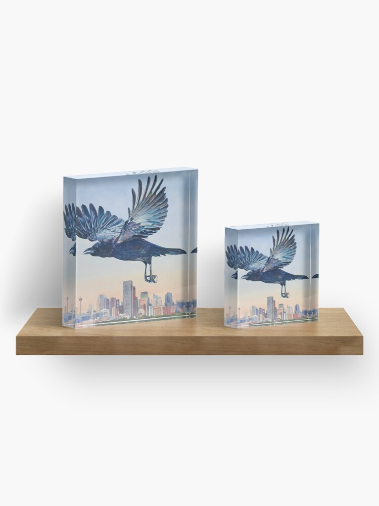 Alternate view of Untethered - crow over Calgary skyline Acrylic Block