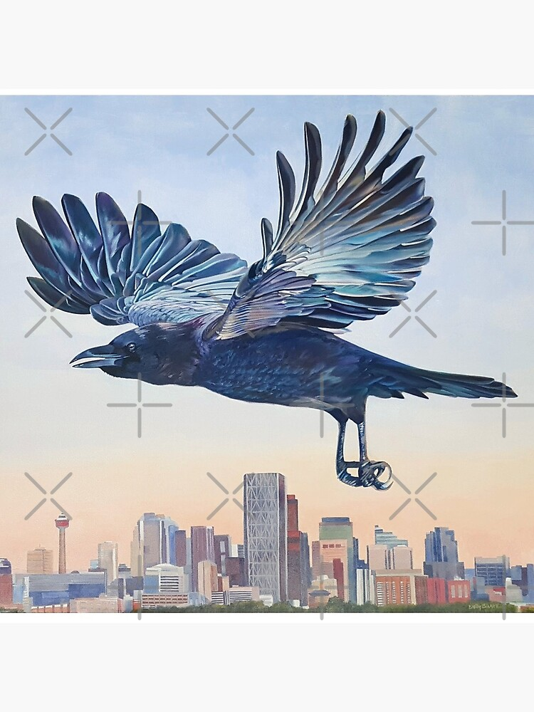 Untethered - crow over Calgary skyline by EmilyBickell