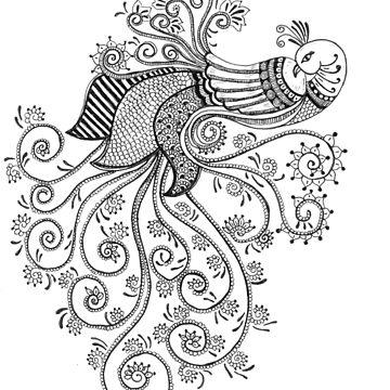Peacock doodle art by rkrishnappa