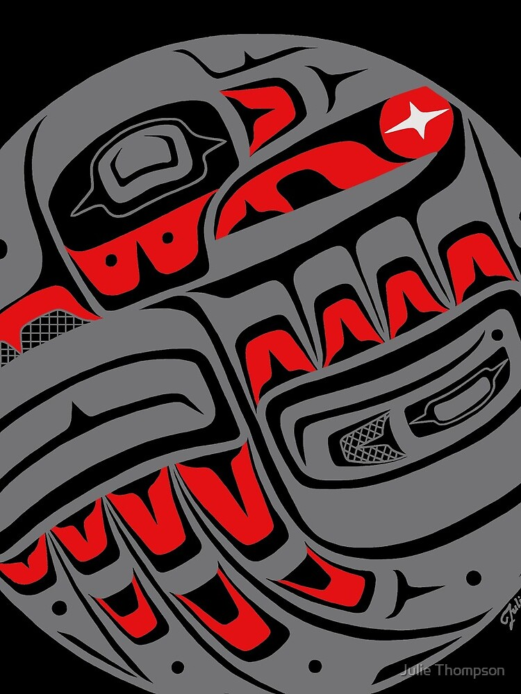 Raven Steals The Sun, Tlingit style, in gray by featherladyJT