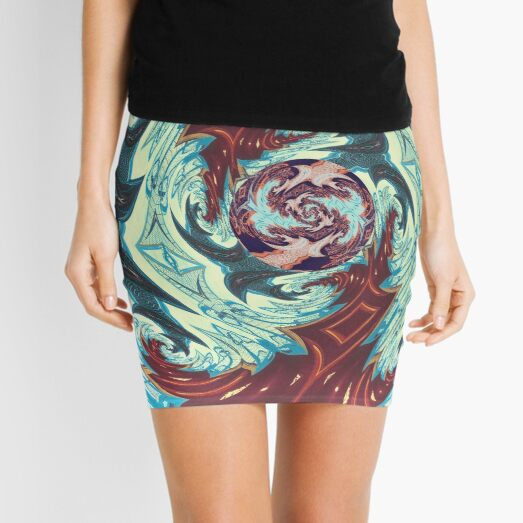 Red and Blue Spiral Tropical Tribal Mini Skirt
