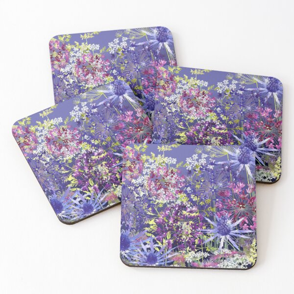 Midnight Garden - Sea Holly, Alliums, Cow Parsley & Grasses Coasters (Set of 4)