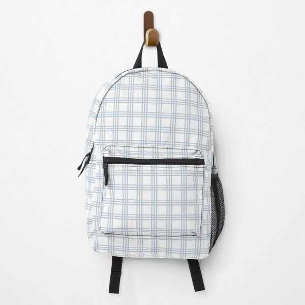 Light Blue and White Plaid Backpack