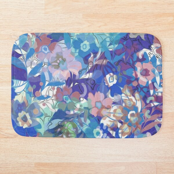 Soft Wildflower Blue and Apricot Floral Bath Mat