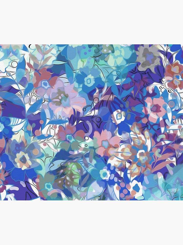 Soft Wildflower Blue and Apricot Floral by kshimmield