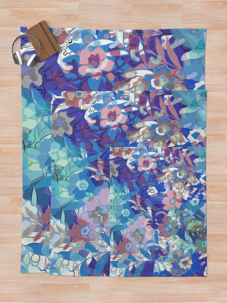 Alternate view of Soft Wildflower Blue and Apricot Floral Throw Blanket