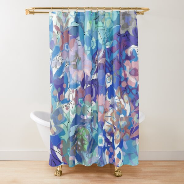 Soft Wildflower Blue and Apricot Floral Shower Curtain
