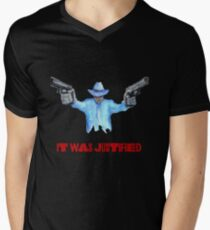 """Raylan Givens, """"It was Justified"""" Red words (like the official screen title) T-Shirts T-Shirt mit V-Ausschnitt für Männer"""