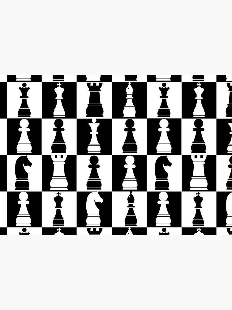Black and White Chess Board Print Pattern by lusterhills