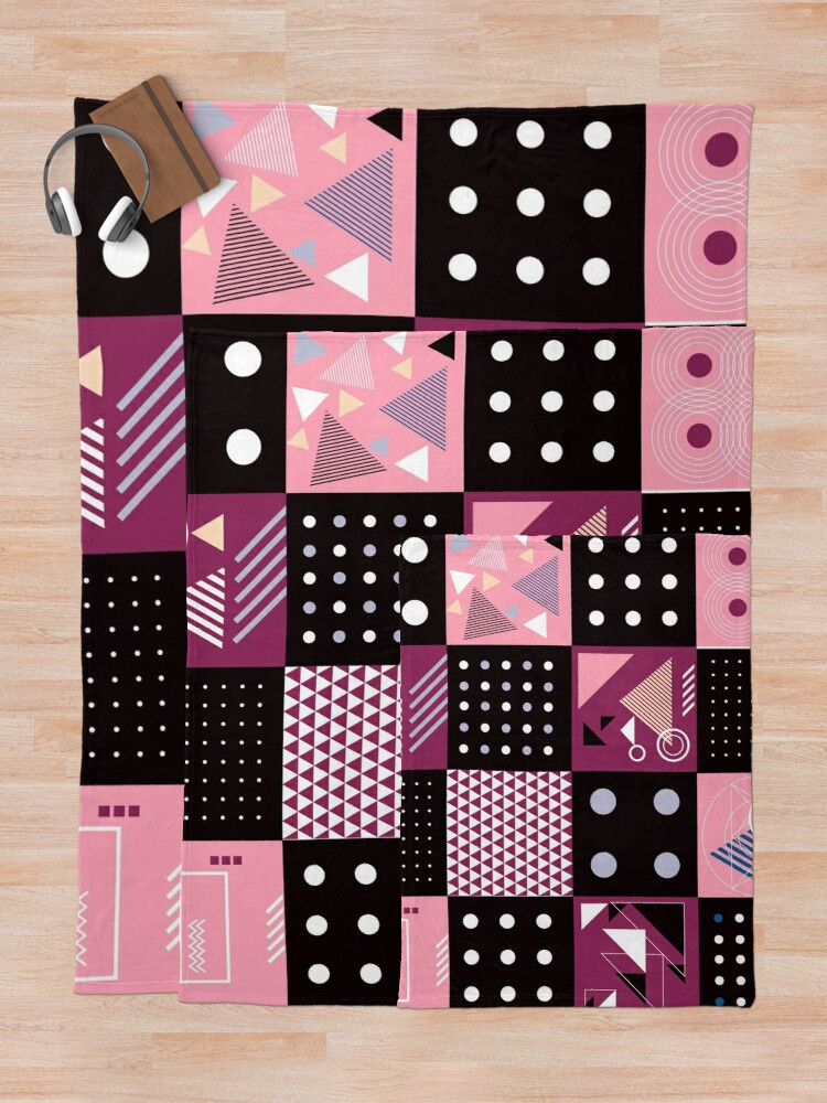 Alternate view of  Retro Patchwork Squares Funky yet Eclectic Design Throw Blanket