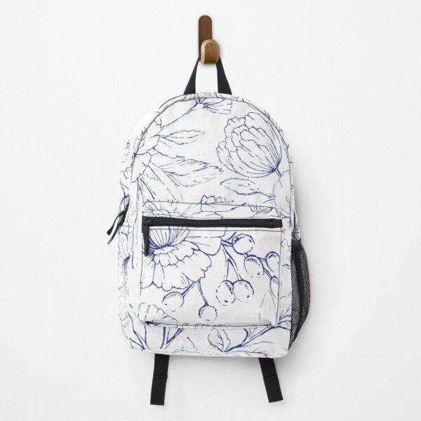Modern hand drawn navy blue white elegant floral pattern Backpack