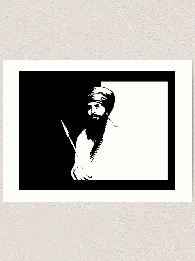 Sant Jarnail Singh Bhindranwale Black White Art Print By Inkstyl Redbubble