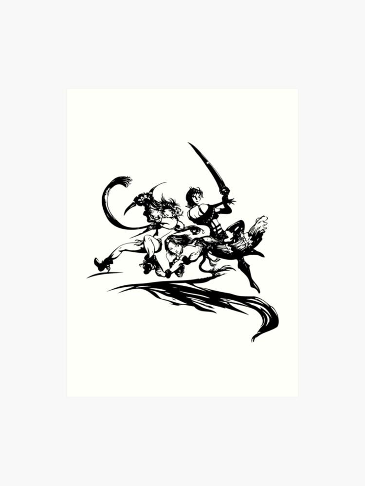 Final Fantasy X 2 Black Logo Art Print