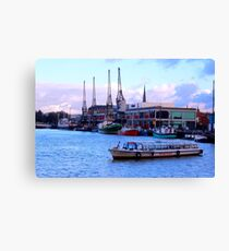 Harbour with Historical crains Bristol Canvas Print