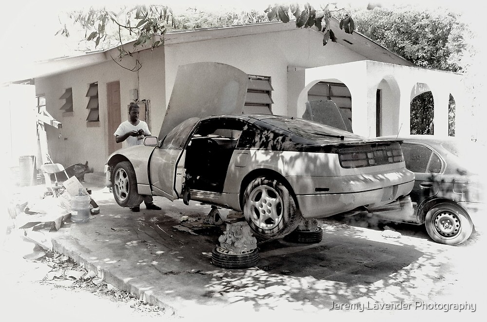 Fixin' Da Car in Fox Hill Village - Nassau, The Bahamas by Jeremy Lavender Photography