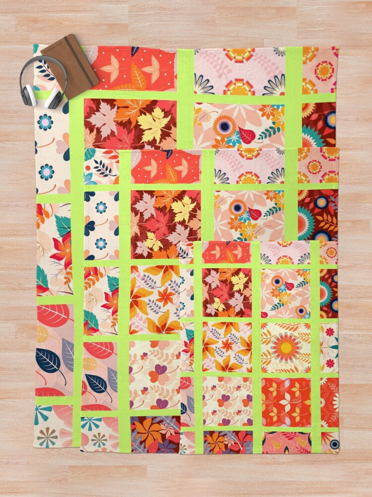 Alternate view of Autumn Fall Patchwork Quilt Country Print Throw Blanket