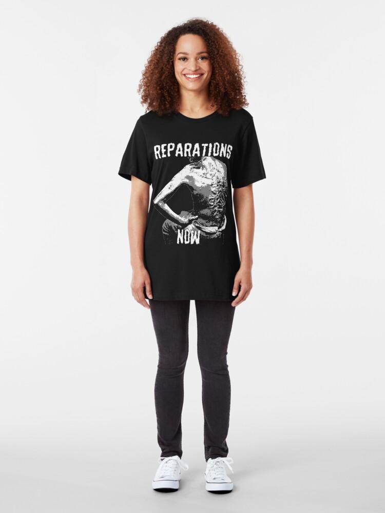 Alternate view of REPARATIONS NOW BATTERED SLAVE BACK SHIRT. (DARK) Slim Fit T-Shirt